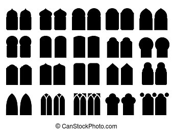 Set of silhouettes windows - A set of silhouettes of...