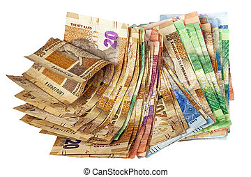 Crumpled Stack of South African Rand Bank Notes - Isolated...