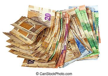 chiffonné, pile, de, sud, africaine, rand, banque,...