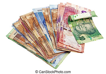 Isolated Spread South African Rand Notes on White - Above...