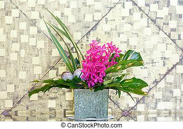 Flower bouquet in ceramic pot - Close up mokara boonlong...