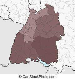 Map of Baden-Württemberg with neighboring federal states -...