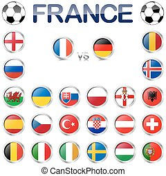 France soccer game national teams - alle flags of national...