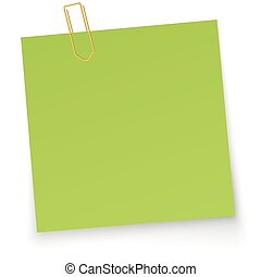 little paper with paper clip - little green paper with...