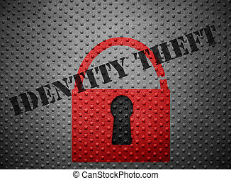 Identity theft lock - Broken red lock with Identity Theft...