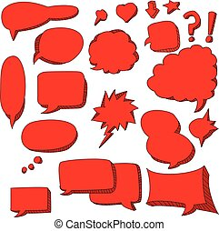 cute doodle of red speech bubbles