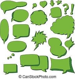 cute doodle of green speech bubbles