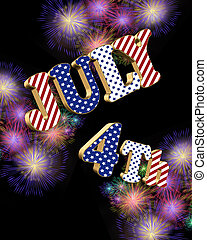 July 4th fireworks with 3D text - July 4th 3D text over...