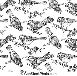Seamless pattern with  hand drawn ornate birds on sakura flower
