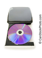 External dvd drive isolated on the white