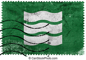 Flag of Hiroshima, Japan, old postage stamp