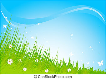 Meadow praise background - Summer grassy field and...