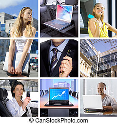 Business collage - collage consisting of many pictures on...