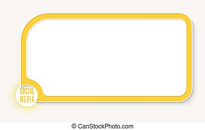 Yellow text box for your text and social media icon