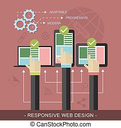 Responsive website design vector illustration with technological devices