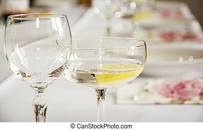 Glasses of vermouth with lemon for birthday party