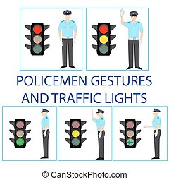 policemen and traffic light - set of police officers...