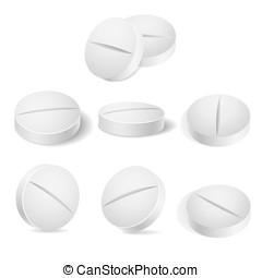 White pills vector illustration