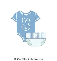 Body And Nappy For Baby Flat Simple Cute Style Cartoon...