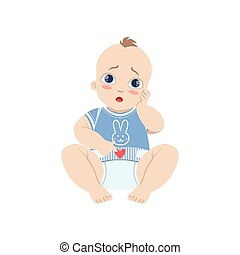 Baby In Blue With Dirty Nappy Flat Simple Cute Style Cartoon...