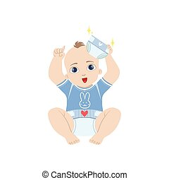 Baby In Blue Holding Fresh Nappy Flat Simple Cute Style...