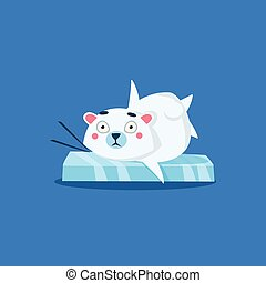 Polar Bear Gliding On Ice