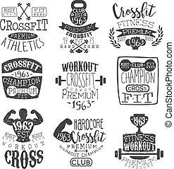 Vintage Gym Fitness Stamp Set Of Monochrome Vector Design...