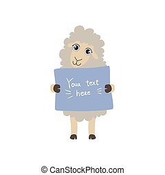 Sheep With The Template For The Message Cute Childish...