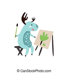 Deer Painting A Picture