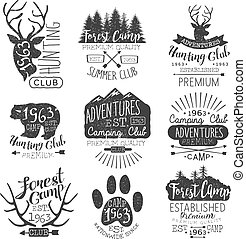 Vintage Forest Stamps Collection Of Monochrome Vector Design...