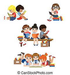 Kids Reading Books Set Of Colorful Simple Design Vector...
