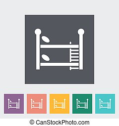 Bunk bed Vector Flat Icon - Bunk bed icon Flat vector...