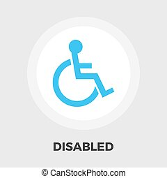 Disabled flat icon - Disabled icon vector Flat icon isolated...