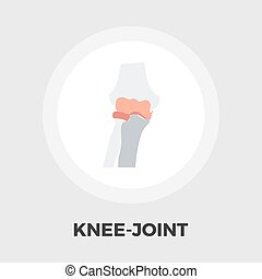 Knee-joint flat icon - Knee-joint icon vector. Flat icon...
