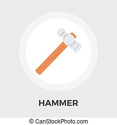Hammer Icon Vector Flat icon isolated on the white...