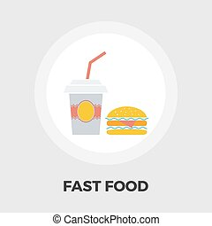 Fast food flat icon - Fast food icon vector Flat icon...