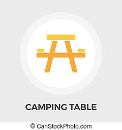 Camping table Vector Flat Icon - Camping table icon vector....
