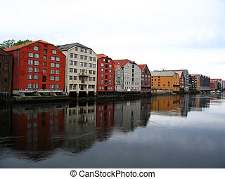 Trondheim Norway - Colourful houses by the sea in Trondheim...