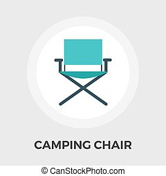 Camping chair Vector Flat Icon - Camping chair icon vector...