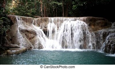 water - Deep forest waterfall at waterfall National Park...