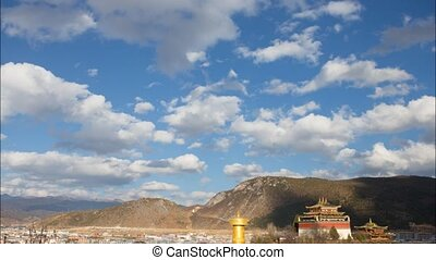 sky - Cloud flowing on the Biggest Holy Wheel Monastery ,...