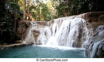 water - Deep forest waterfall at Erawan waterfall National...