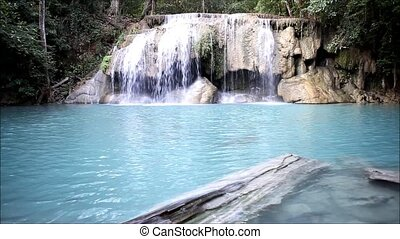waterfall - Deep forest waterfall at Erawan waterfall...