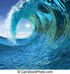 Blue wave twirl background 3d illustration