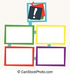 Four colored frames for your text with exclamation mark