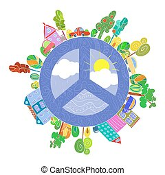 peaceful bright planet, peaceful city vector illustration