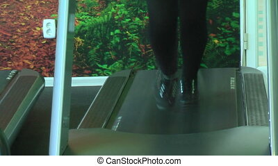Woman on racetrack simulator. Feet view