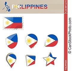Philippines Flag Set, Flag Set #175. Vector.