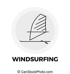 Windsurfing Line Icon - Windsurfing Icon Vector Flat icon...