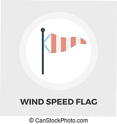 Meteorological tower icon flat - Wind Speed Flag icon vector...